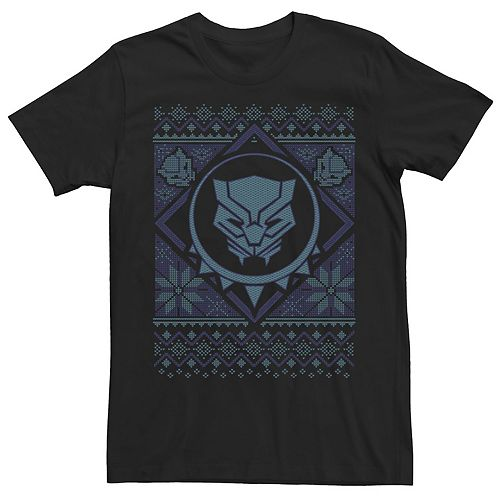 Men's Marvel Black Panther Blue Hue Symbol Christmas Tee