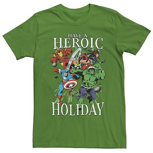 Men's Marvel Have A Heroic Holiday Retro Action Group Shot Tee