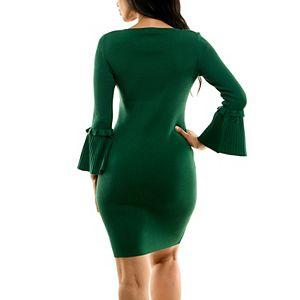 Women's Nina Leonard Bell Sleeve Ribbed Sweater Dress