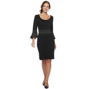 Women's Nina Leonard Jacquard Bell-Sleeve Sweater Dress
