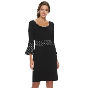 Women's Nina Leonard Jacquard Bell-Sleeve Sweater Dress