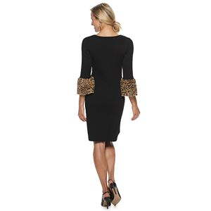 Women's Nina Leonard Faux-Fur Trim Sweater Dress