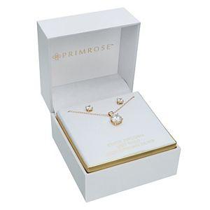 PRIMROSE Sterling Silver 18k Gold Plated Cubic Zirconia Pendant & Stud Earring Set