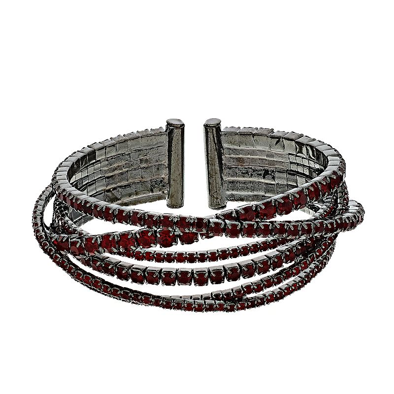 Simply Vera Vera Wang Red Rhinestone Chain Bangle Bracelet, Women's