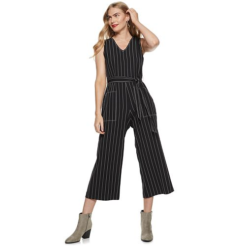 Petite Nine West Contrast-Stitch Sleeveless Jumpsuit