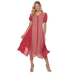 Women's Sharagano Mixed-Print Sharkbite Hem Dress