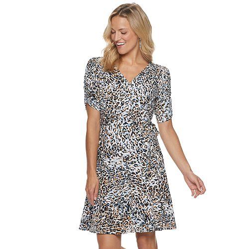 Women's Sharagano Animal-Print Faux Wrap Dress