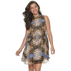 Women's Sharagano Print Mockneck Chiffon Dress