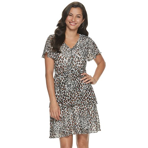 Women's Sharagano Animal-Print Flutter Sleeve Dress