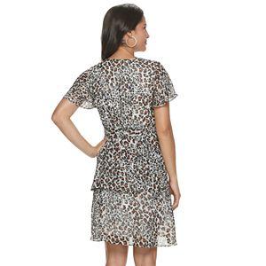 Women's Sharagano Animal-Print Flutter Sleeve Dress