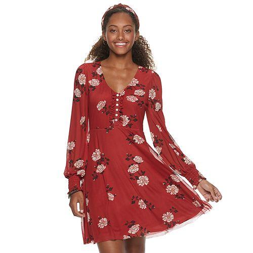 Juniors' American Rag V-Neck Center Front Ruffle Dress
