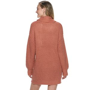 Juniors' Rewind Oversized Cowl Neck Cable Sweater Dress