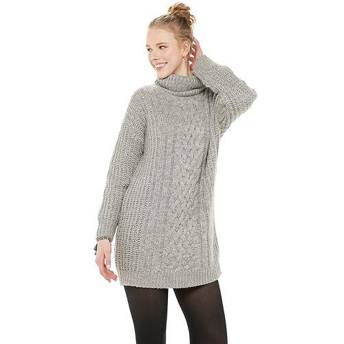 Juniors' Rewind Oversized Cowl Neck Cable Sweater Dress