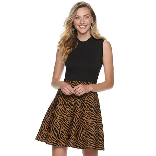 Juniors' Rewind Mockneck Fit & Flare Sweater Dress