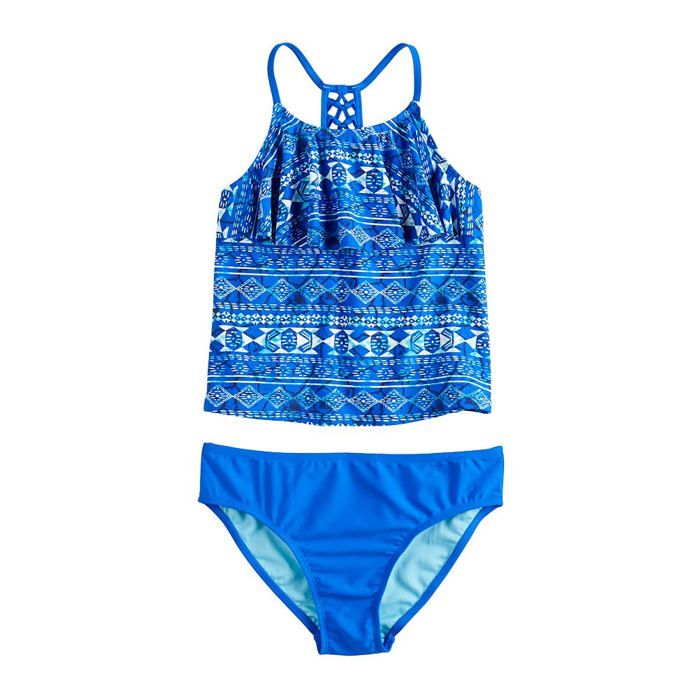 Girls 7-16 & Plus Size SO® Deep Blue Braided Back Strap Tankini Two-Piece Swimsuit