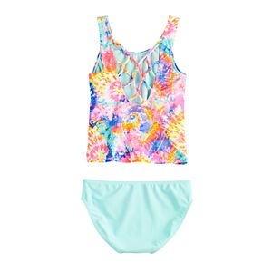 Girls 4-16 & Plus Size SO Spiral Tie-Dye Tankini and Bottoms Swimsuit Set