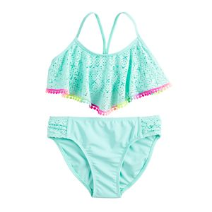 Girls 7-16 SO® Allover Turquoise Lace-Up Back Bikini and Bottoms Swimsuit Set