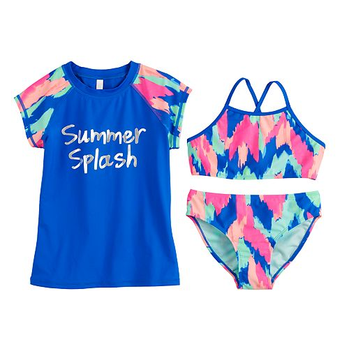 Girls 7-16 SO® Surf Summer Splash Tie-Dye Bikini Top, Bottoms & Rashguard Swimsuit Set