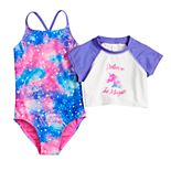 "Girls 4-6x SO® Constellation One-Piece Swimsuit & ""Believe In Magic"" Unicorn Rash Guard Set"