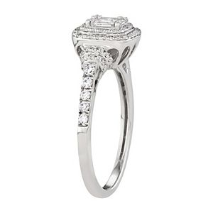 Simply Vera Vera Wang 14k White Gold 1/2 Carat T.W. Diamond Baguette Halo Engagement Ring