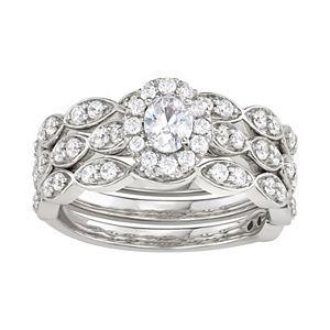 Simply Vera Vera Wang 14k White Gold 1 Carat T.W. Diamond Scalloped Engagement Ring Set