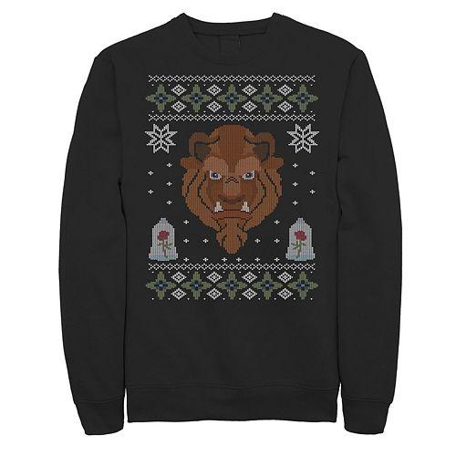 Men's Disney Beauty And The Beast Ugly Christmas Sweater Fleece