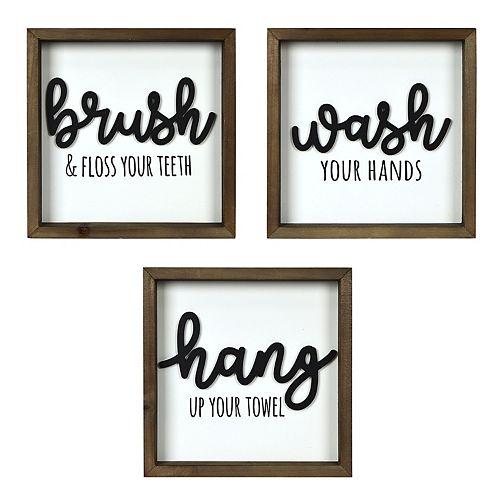 New View Wash Brush Hang Wall Decor 3 Piece Set Kohl S
