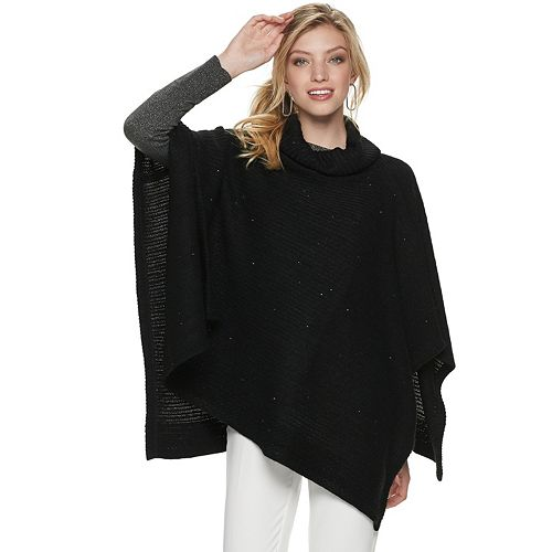 Women's Apt. 9® Sparkle Cowl Neck Poncho by Apt. 9