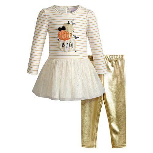 Toddler Girl Youngland Stripe Knit/Mesh Dress With Metallic Knit Legging 2-Piece Set