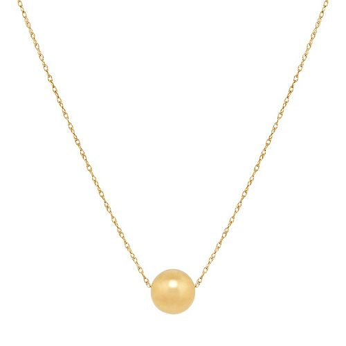 10k Gold 8 mm Bead Pendant Necklace