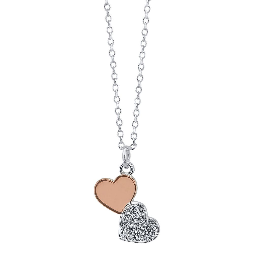Brilliance Two Tone Duo Heart Necklace With Swarovski Crystals