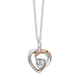 Brilliance Two-Tone Intertwining Heart Pendant Necklace with Swarovski Crystals