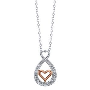 Brilliance Two Tone Mother Daughter Heart Pendant With Swarovski Crystals