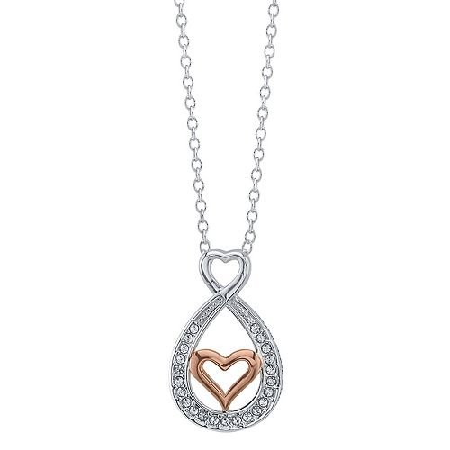 Brilliance Two Tone Mother Daughter Heart Pendant With