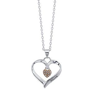 Brilliance Mom You Are Loved Two Heart Pendant Necklace With Swarovski Crystals