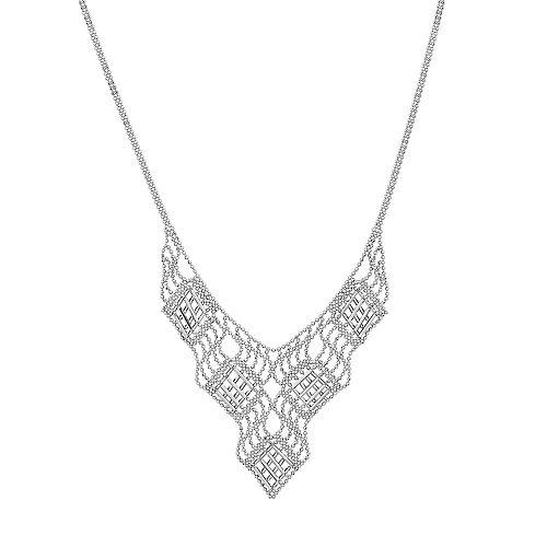Sterling Silver Wavy Latticework Necklace
