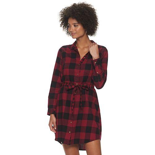 Petite SONOMA Goods for Life™ Plaid Flannel Shirt Dress