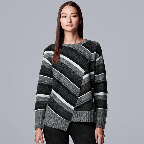 Petite Simply Vera Vera Wang Variegated Striped Crewneck Sweater