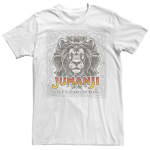 Men's Jumanji It's A Jungle In Here Lion Game Piece Portrait Logo Tee