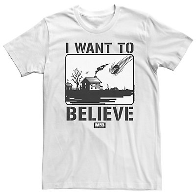 Men's Men In Black I Want To Believe U.F.O Crash Black And White Poster Tee