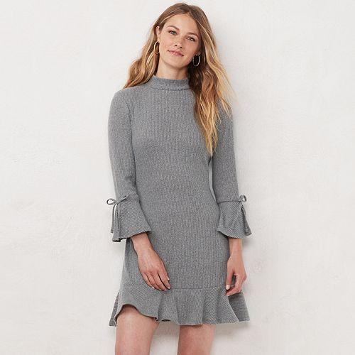 Petite LC Lauren Conrad Flared-Sleeve Mockneck Swing Dress