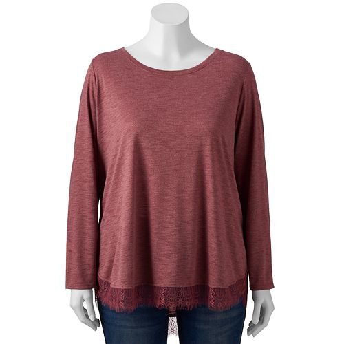 Plus Size LC Lauren Conrad Long Sleeve Shirttail Tunic