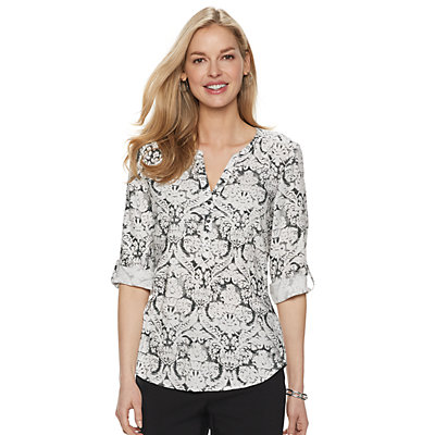 Petite Croft & Barrow Print Popover Top