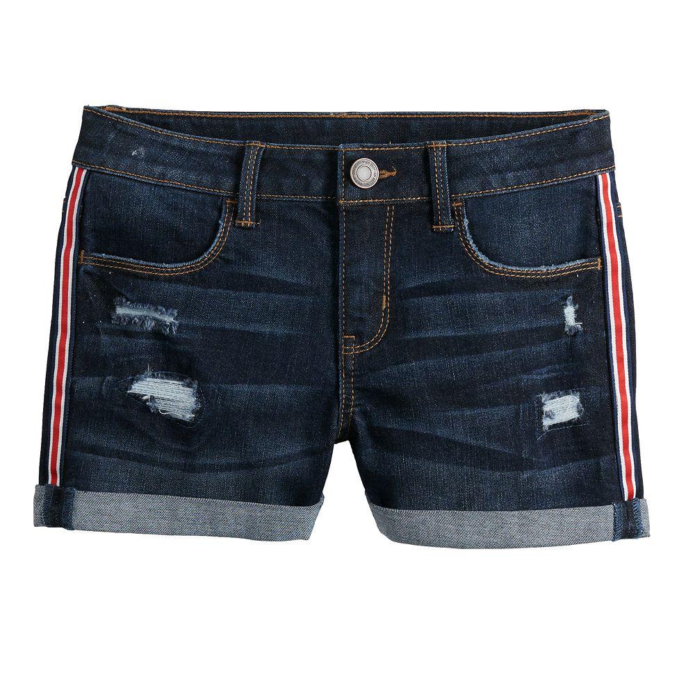 Girls 7-16 SO® Flag Cuffed Jean Shorts