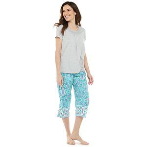 Petite Croft & Barrow® Sleep Tee & Pajama Capri Set