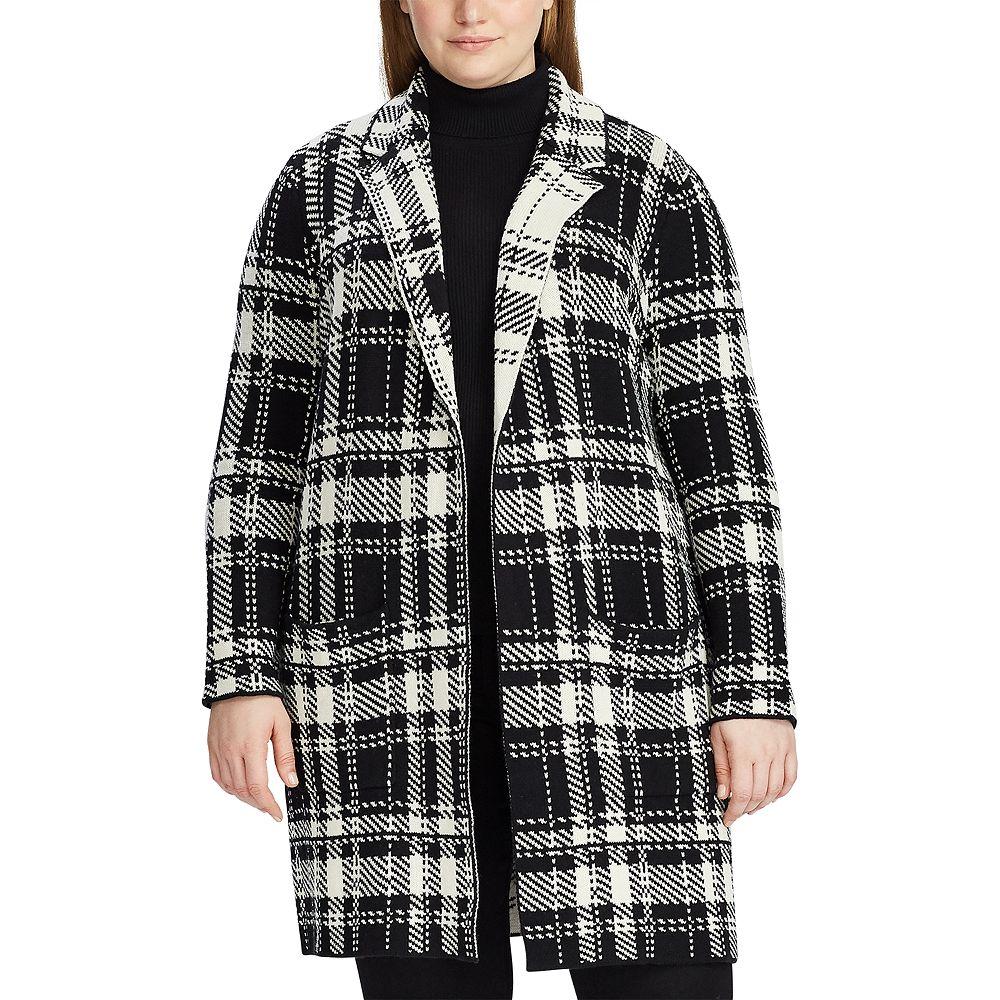 Plus Size Chaps Plaid Long Open Sweater