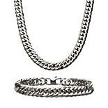 Men's Curb Chain Necklace & Bracelet Set
