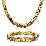 Men's Stainless Steel Byzantine Chain Necklace & Bracelet Set