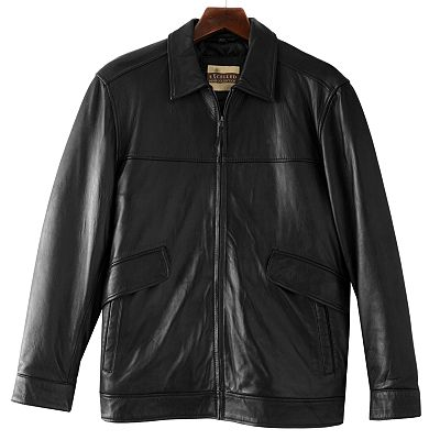 Excelled Straight Bottom Leather Hipster Jacket - Big and Tall