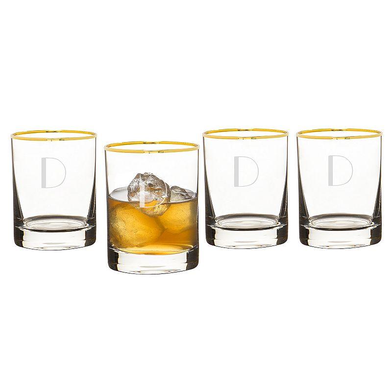 Cathy's Concepts 4-pc. Monogram Gold Rim Whiskey Glass Set